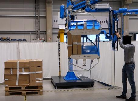 Hebe-, Kommissionier- und Stapelhilfe  für Kartons und Kartonagen  in der Logistikbranche
