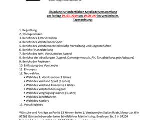 Mitgliederversammlung des SVV am 29.03.2019 um 19:00 Uhr im Vereinsheim