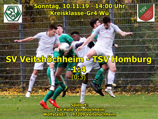 So,10.11.19 - 14:00 / Kreisklasse-Gr4 Wü:            SV Veitshöchheim - TSV Homburg 1:4(0:3)