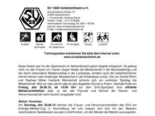 SVV Blättlebericht vom 24.06.2019