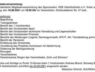 10.09.2021-18:30 Uhr  Mitgliederversammlung im Vereinsheim