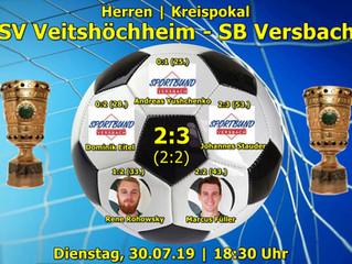 Herren-Kreispokal: 30.07.19 SV Veitshöchheim – SB Versbach  2:3 (2:2)
