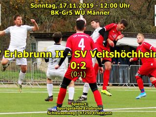 So, 17.11.19 - 12:00 / BK-Gr5 WÜ Männer: TSV Erlabrunn II - SV Veitshöchheim II 0:2 (0:1)