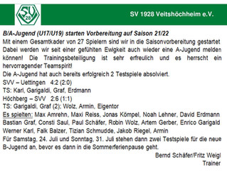 B/A-Jugend (U17/U19) starten Vorbereitung auf Saison 21/22
