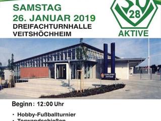 26.01.2019 Innerörtliche Fußball-Hallenturnier des SVV. Start um 12:30 Uhr!