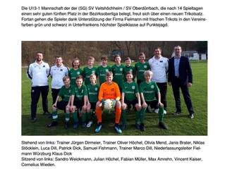 Die U13-1 bedankt sich ganz herzlich für die Trikotspende beim Sponsor Fielmann Würzburg!