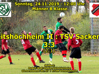 So, 24.11.19 - 12:00 / Männer B Klasse:   SV Veitshöchheim II : TSV Sackenbach 3:3 (2:1)