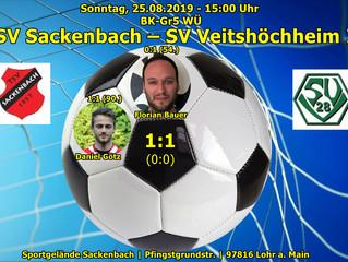 So, 25.08.19   15:00   Herren   B Klasse: TSV Sackenbach - SV Veitshöchheim II 1:1