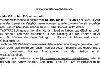 Der SVV nimmt auch wieder 2021 am Stadtradeln teil