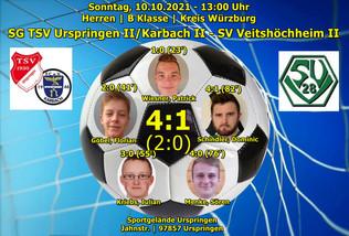 10.10.2021  Herren B Klasse: SG TSV Urspringen II/Karbach II - SV 1928 Veitshöchheim II  4:1