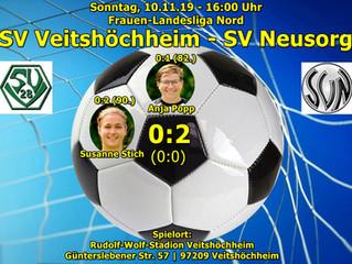 So, 10.11.2019 Frauen-Landesliga Nord: SV Veitshöchheim - SV Neusorg  0:2 (0:0)
