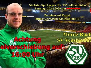 So, 20.12.-16:00  Spielverschiebung im Wohnzimmer-Cup gegen den TSV Albertshofen auf 16:00 Uhr