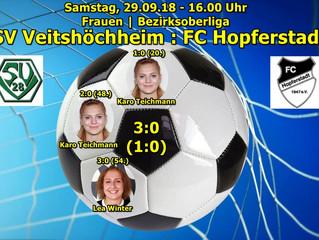 29.09.18  Frauen | Bezirksoberliga:    SV Veitshöchheim : FC Hopferstadt 3:0(1:0)  // Das Spiel der