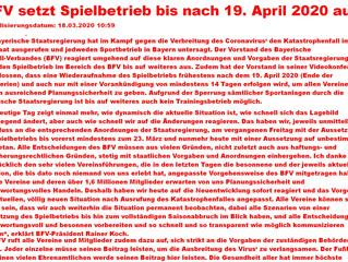 BFV setzt Spielbetrieb bis nach 19.April 2020 aus!