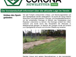 10.10.20 Corona Newsletter (Sportgeländeumbau, Spielbetrieb, Mitgliederversammlung, SVV - Maske)