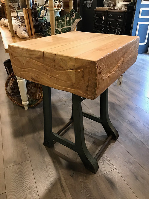 metal base, cedar chunk island / table - A2