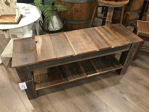 Rustic Reclaimed Redwood Entry Bench - A2