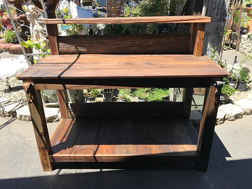 rustic reclaimed wood potting bench - A1