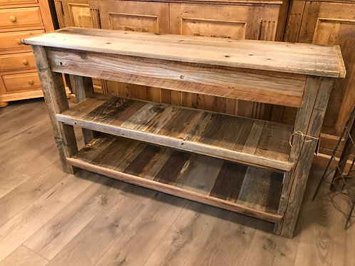 rustic reclaimed redwood console table - A2