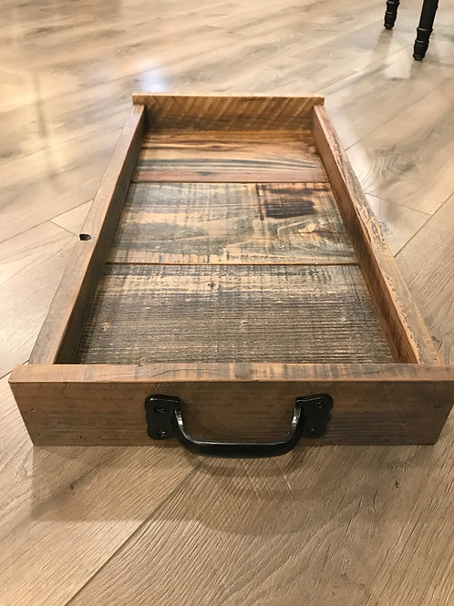 reclaimed wood tray - iron handles - A2
