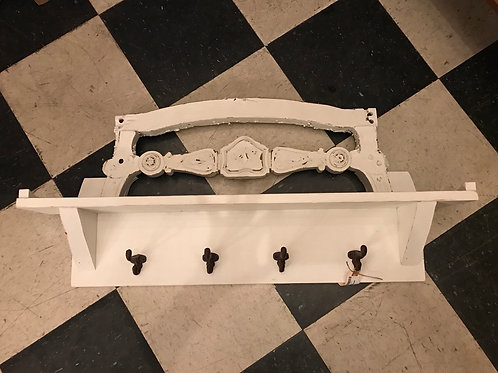 White Hook Rack w/architectural detail - A1