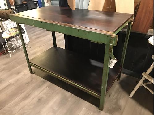 Green Metal Base Kitchen Island / Work Table - A2
