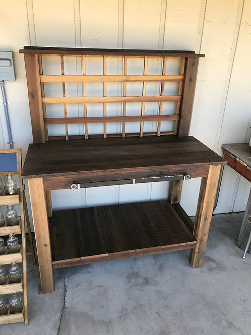 reclaimed wood potting bench - A1