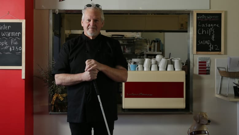 Ian Edwards, The Blind Chef, at his bistro in the Boolaroo Bowling Club