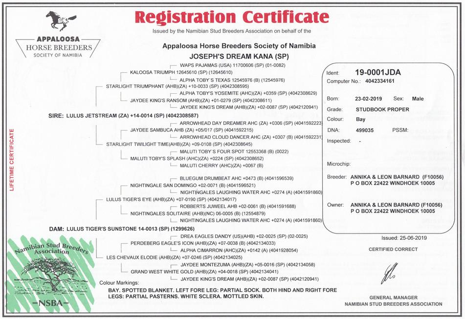 Joseph's Dream Kana AHBSNA certificate (Namibia)
