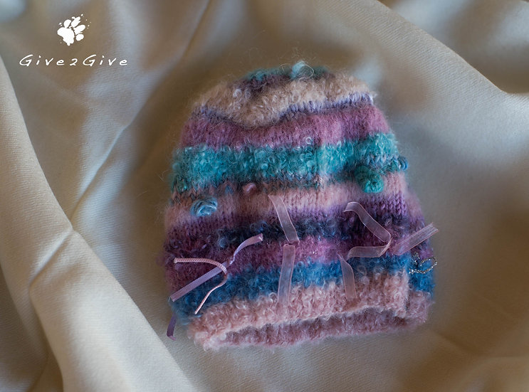 Give2Give - Pink Mohair wool Baby Beanie plain