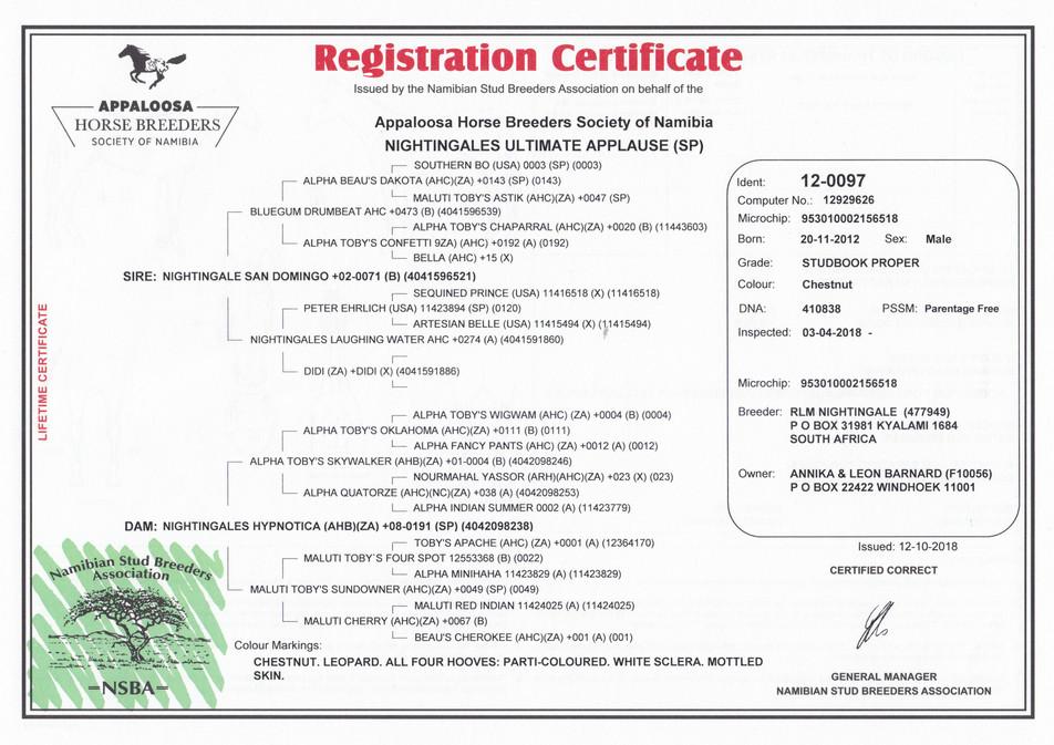 Nightingales Ultimate Applause AHBSN Certificate (Namibia)