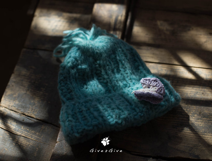 Give2Give - Turquoise Fleece Kids Beanie butterfly