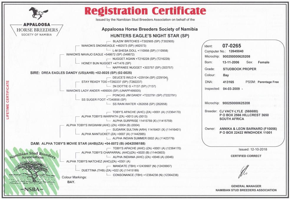 Hunters Eagle's Nightstar AHBSN Certificate (Namibia)