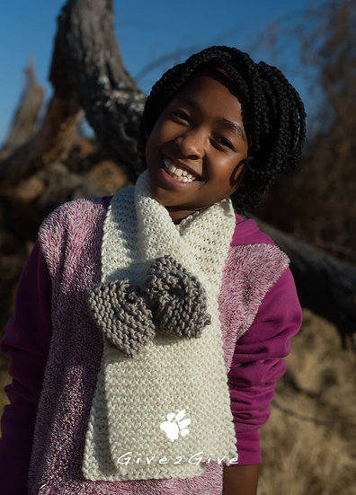 Give2Give -  Kids Scarf creme brown bow