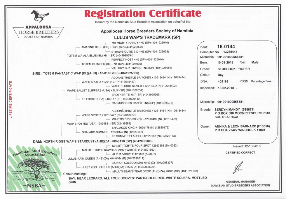 Lulus Wap's Trademark AHBSN Certificate (Namibia)