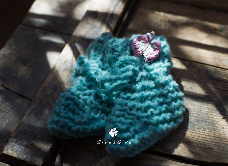 Give2Give - Fleece Baby Shoes turquoise butterfly