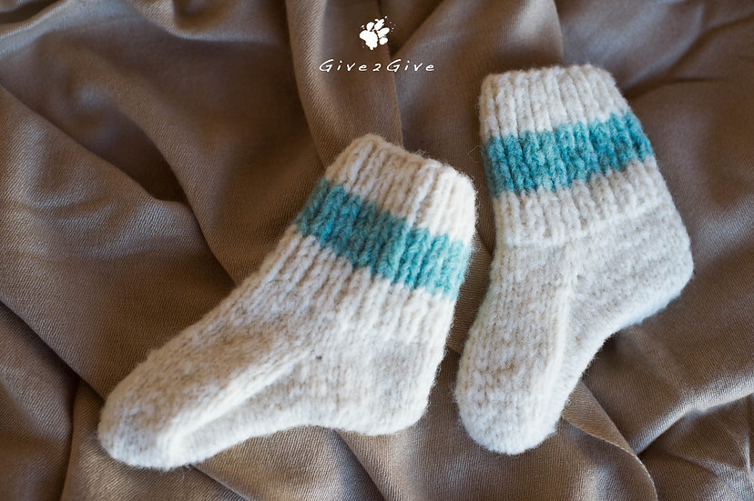 Give2Give - Fleece Toddler Socks turquoise/creme