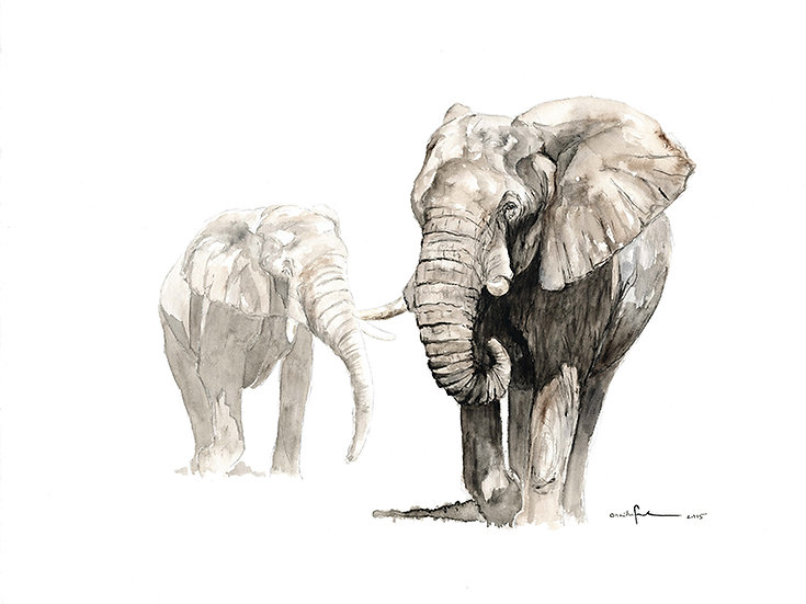 """the elderly gentlemen""- watercolour painting - by Annika Funke - Namibia"