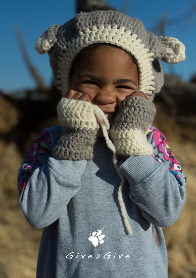 Give2Give - Pastel Merino Wool Kids Teddy Beanie Set
