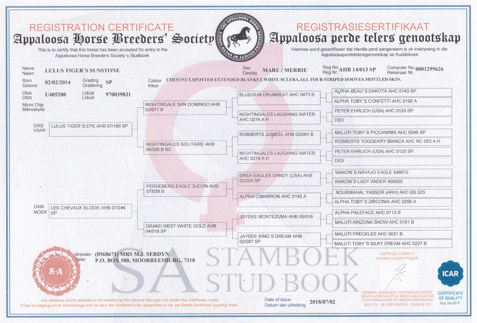Sunny AHBSSA Certificate (SA)
