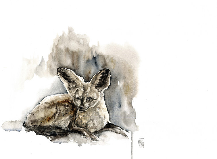 """curious neighbor"" - original watercolour sketch"