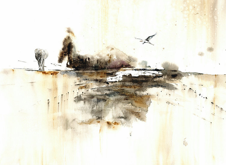 """the visit"" - original watercolour painting"