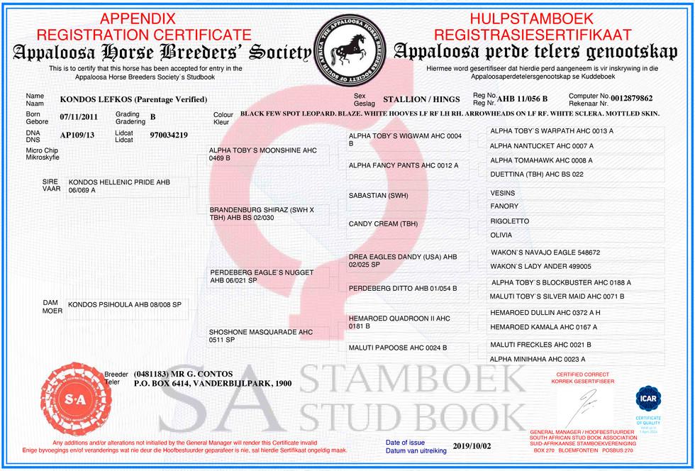 Kondos Lefkos AHBSSA Certificate (SA)