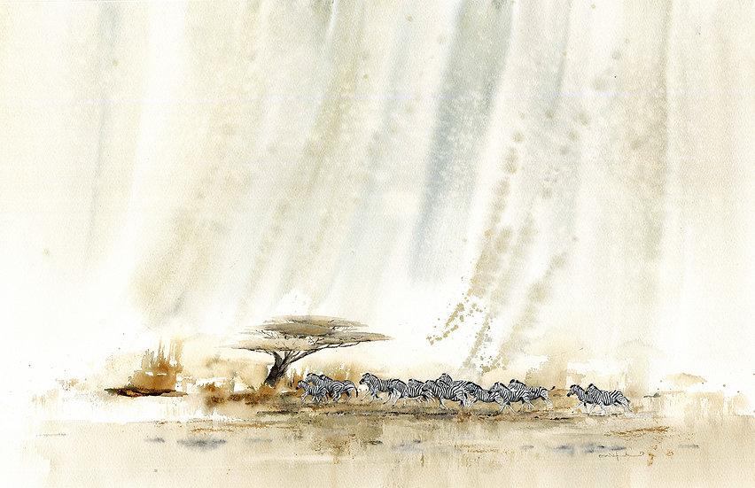 """silent rain"" - original watercolour painting"