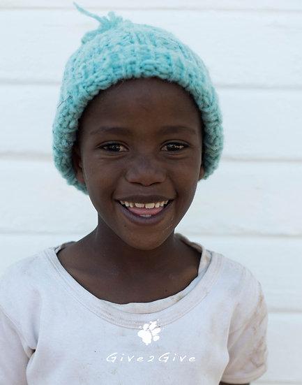 Give2Give - Turquoise Fleece Kids Beanie plain