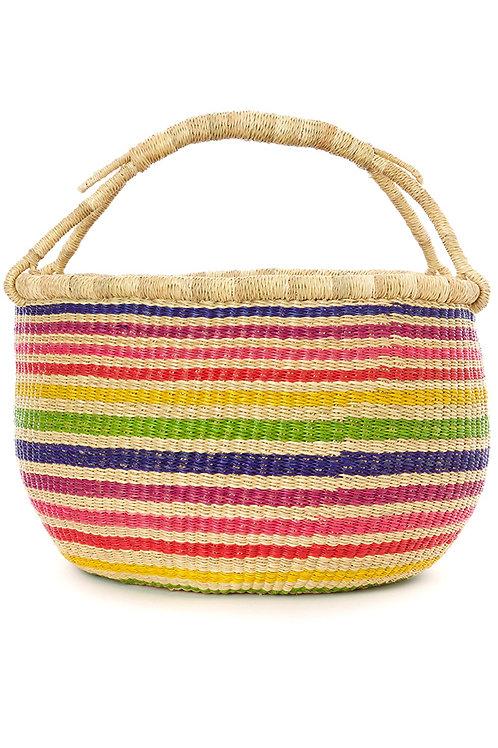 Rainbow Stripe Ghanaian Bolga Basket