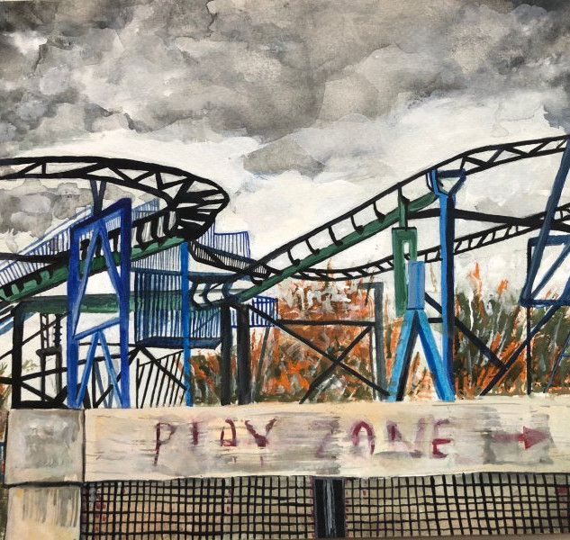 Roller Coaster, 9x12, $250.00