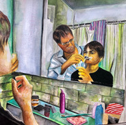 First Shave, watercolor, 2020