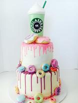 Frappe & Donuts Birthday Cake