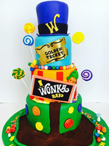 Willy Wonka Golden Ticket Birthday Cake